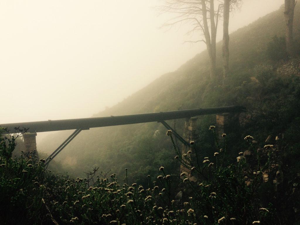 Foto einer Rohrleitung, die ein Tal überbrückt